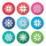 Christmas, winter snowflakes flat design icons set — Stock Vector #78097408