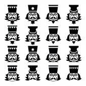 Christmas nutcracker - soldier figurine head black icons set — Stock Vector