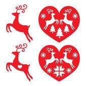 Reindeer, deer jumping, Christmas icons set — Stock Vector