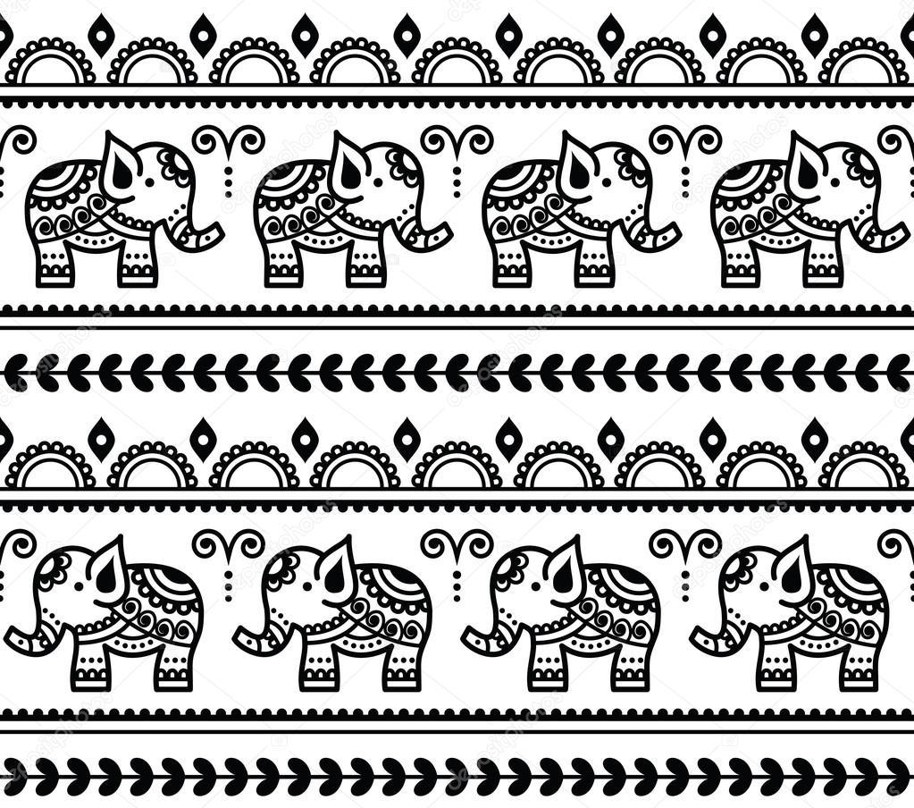 mehndi indische henna t towierung nahtlose muster mit elefanten stockvektor 79143468. Black Bedroom Furniture Sets. Home Design Ideas