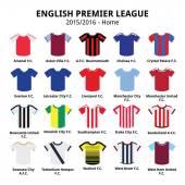 English Premier League 2015 - 2016 football or soccer jerseys icons set — Stock Vector