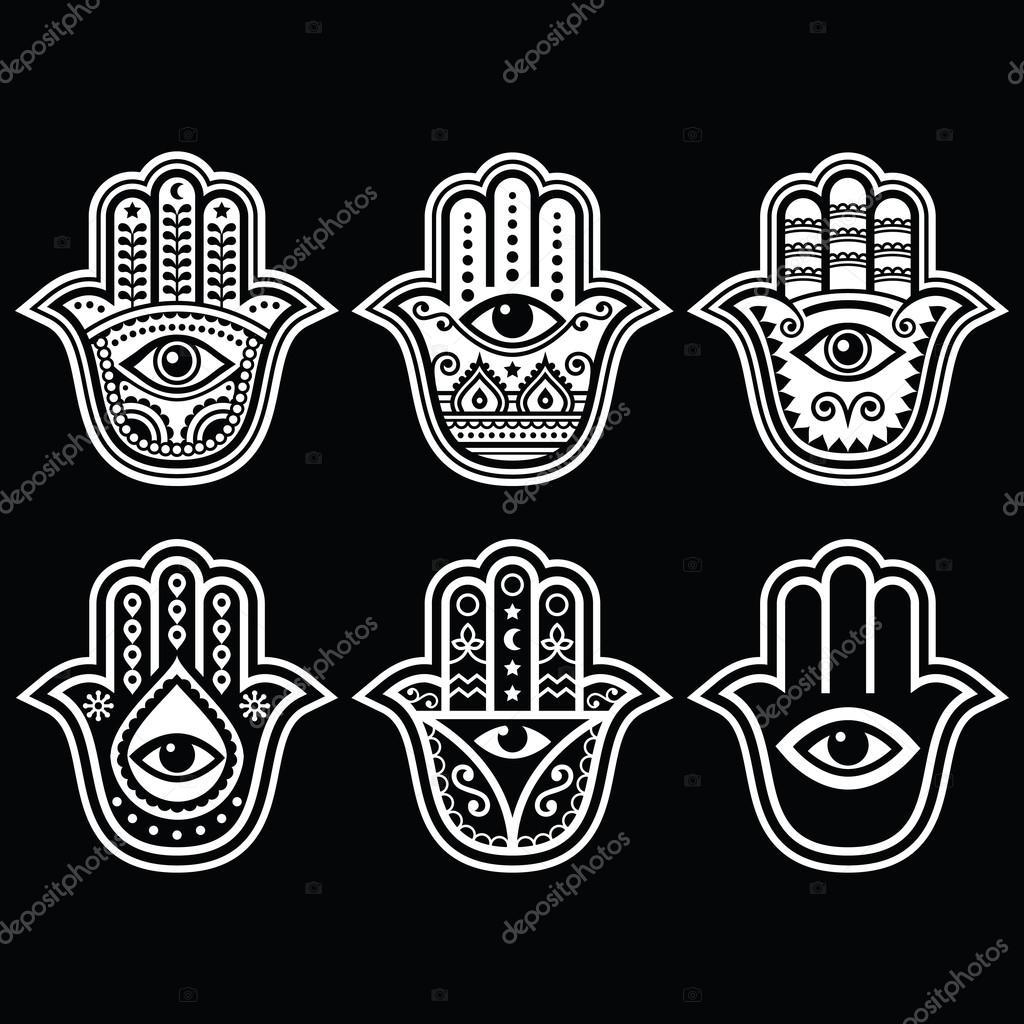 hamsa hand hand der fatima amulett symbol des schutzes von teufel auge stockvektor. Black Bedroom Furniture Sets. Home Design Ideas