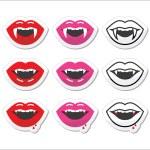 Vampire mouth, vampire teeth vector labels set — Stock vektor #81884454