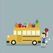 Autobus scolaire et fruits — Vecteur