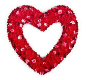 Heart shaped bouquet of red flowers — Stock Photo