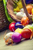 Easter cake eggs and tulips — Foto Stock