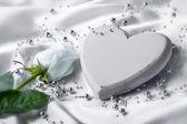 White heart satin — Stock Photo