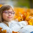 Young girl lying on the colored maple leaves in hands holding a bouquet from the same leaves — Stock Photo #55289605