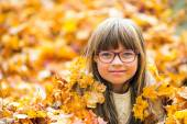 Portrait of a young pretty girl who was cheerfully playing with autumn maple leaves. — Stock Photo