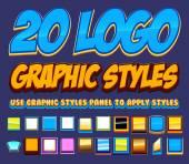 20 stylu grafika komiks Logo — Wektor stockowy