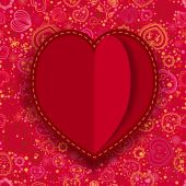 Red paper heart Valentines day card — Stock Vector
