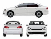 White Sedan Car — Stock Vector