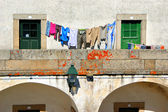 Drying clothes in Almeida historical village — Stock Photo