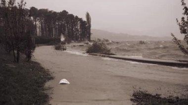Maggiore lake overflow in Ispra — Stock Video