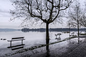 Varese lake, flooding in Gavirate — Stock Photo