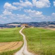 Scenic Tuscany landscape with traditional farm house, Val d'Orcia, Italy — Stock Photo #58675309