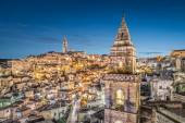 Ancient town of Matera at dusk, Basilicata, Italy — Stock Photo