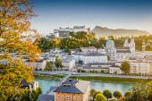 Historic city of Salzburg at sunset in fall, Austria — Stock Photo