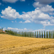 Beautiful Tuscany landscape with traditional farm house and dramdramatic clouds on a sunny day in Val d'Orcia, Italy — Stock Photo #68473579