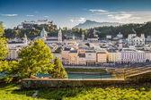 Historic city of Salzburg at sunset, Salzburger Land, Austria — Stock fotografie