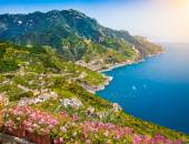 Postcard view of Amalfi, Amalfi Coast, Campania, Italy — Stock Photo