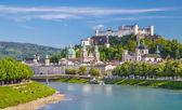 Historic city of Salzburg with Salzach river in summer, Salzburger Land, Austria — Stock Photo
