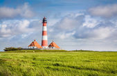 Landscape with lighthouse at North Sea — Stock Photo