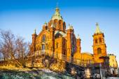 Famous Uspenski Cathedral at sunset, Helsinki, Finland — Foto Stock