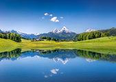 идиллический летний пейзаж с ясным горным озером в альпах — Стоковое фото