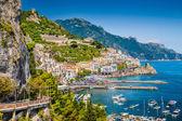 Postcard view of Amalfi, Amalfi Coast, Campania, Italy — Stock Photo
