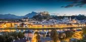 Historic city of Salzburg at dusk, Salzburger Land, Austria — Stock Photo