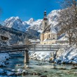 Scenic winter landscape in the Bavarian Alps with Parish Church of Ramsau, Berchtesgadener Land, Germany — Stock Photo #78681096