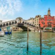 Panoramic view of Canal Grande with famous Rialto Bridge in Venice, Italy — Stock Photo #78682298