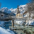 Panoramic view of scenic winter landscape in the Bavarian Alps, Germany — Stock Photo #78686784