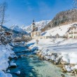 Panoramic view of scenic winter landscape in the Bavarian Alps with famous Parish Church of St. Sebastian in the village of Ramsau, Nationalpark Berchtesgadener Land, Upper Bavaria, Germany — Stock Photo #79028328