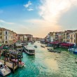 Panoramic view of famous Canal Grande from famous Rialto Bridge in Venice, Italy — Stock Photo #79037638