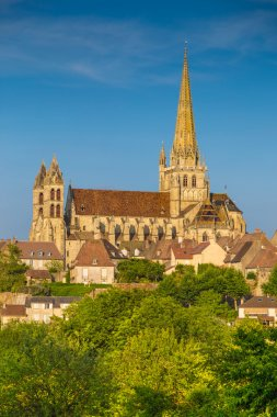 Historic town of Autun with St. Lazare Cathedral at sunset, Burgundy, France