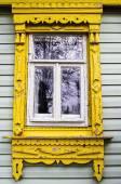Old wooden window village house — Stock Photo