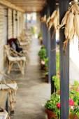 Veranda with flowerpots and corncobs. Ghandruk-Nepal. 0604 — Stock Photo