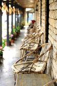 Veranda with flowerpots and corncobs. Ghandruk-Nepal. 0605 — Stock Photo