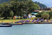 Wooden rowboats. Lake Phewa-Pokhara-Nepal. 0728 — Stock Photo