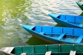 Wooden boats on lake Phewa. Pokhara-Nepal. 0706 — Stock Photo
