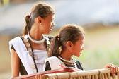 Young girls of the tharu people. Patihani-Nepal. 0787 — Stock Photo
