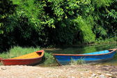Wooden boats on lake Phewa. Pokhara-Nepal. 0717 — Stock Photo