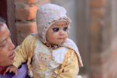 Eye-painted little baby. Godawari-Nepal. 0975 — Stock Photo