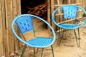 White-blue plastic-metal chairs. Namo Buddha-Nepal. 1024 — Stock Photo