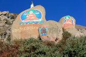 Buddhist mani stones-om mani padme hum. Drepung monastery-Tibet-China. 1202 — Stock Photo