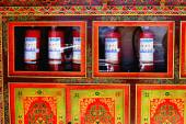 Tibetan wooden-red lacquered commode. Drepung monastery-Tibet. 1243 — Stock Photo