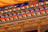 Manycolored wooden doorway. Norbulingka palace-Lhasa-Tibet. 1267 — Stock Photo