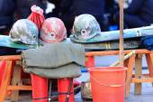 Police helmets. Lhasa-Tibet. 1350 — Stok fotoğraf